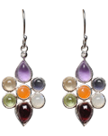 Diamond w/7 Chakra Flower Earings