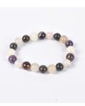 Amethyst & Rose Qtz Round Bead Bracelet
