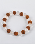 Crystal Qtz & Rudraksh Round Bead Bracelet