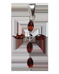 Diamond w/Garnet Faceted Cross Pendant