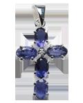 Diamond w/ Iolite Faceted Oval Pendant