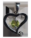 Daimond w/ Peridot Faceted Heart Pendant