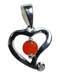 Diamond w/ Carnelian Heart Pendant