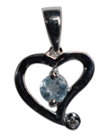 Diamond w/ Blue Topaz Heart Pendant