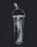 Crystal Qtz Faceted Chakra Stone Pendant