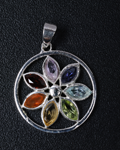 Faceted Marquise 7 Chakra Pendant