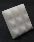 White Agate under carved 9 pyramids