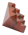 Red jasper under carved 9 pyramids